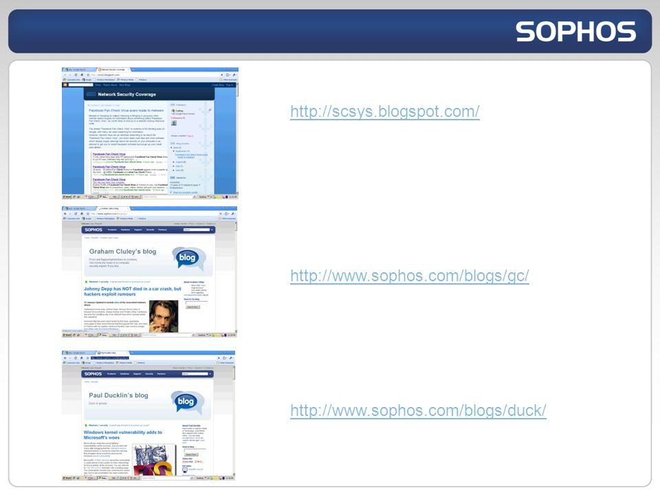 http://scsys.blogspot.com/ http://www.sophos.com/blogs/gc/ http://www.sophos.com/blogs/duck/
