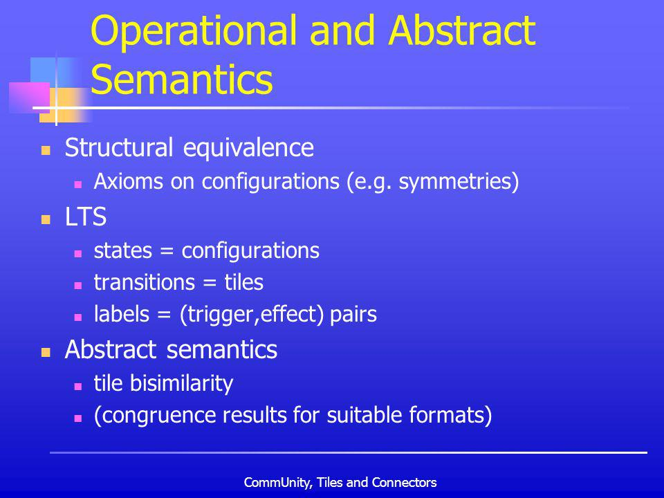 CommUnity, Tiles and Connectors Operational and Abstract Semantics Structural equivalence Axioms on configurations (e.g.