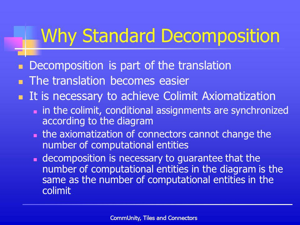 CommUnity, Tiles and Connectors Why Standard Decomposition Decomposition is part of the translation The translation becomes easier It is necessary to achieve Colimit Axiomatization in the colimit, conditional assignments are synchronized according to the diagram the axiomatization of connectors cannot change the number of computational entities decomposition is necessary to guarantee that the number of computational entities in the diagram is the same as the number of computational entities in the colimit