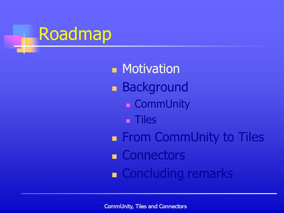 CommUnity, Tiles and Connectors Roadmap Motivation Background CommUnity Tiles From CommUnity to Tiles Connectors Concluding remarks