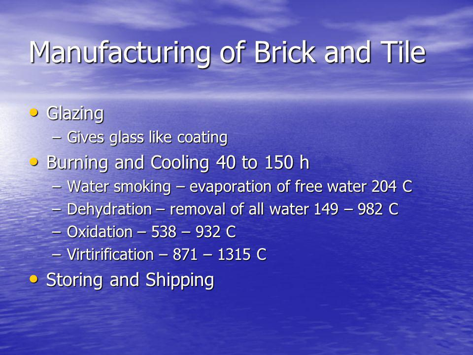 Manufacturing of Brick and Tile Glazing Glazing –Gives glass like coating Burning and Cooling 40 to 150 h Burning and Cooling 40 to 150 h –Water smoking – evaporation of free water 204 C –Dehydration – removal of all water 149 – 982 C –Oxidation – 538 – 932 C –Virtirification – 871 – 1315 C Storing and Shipping Storing and Shipping