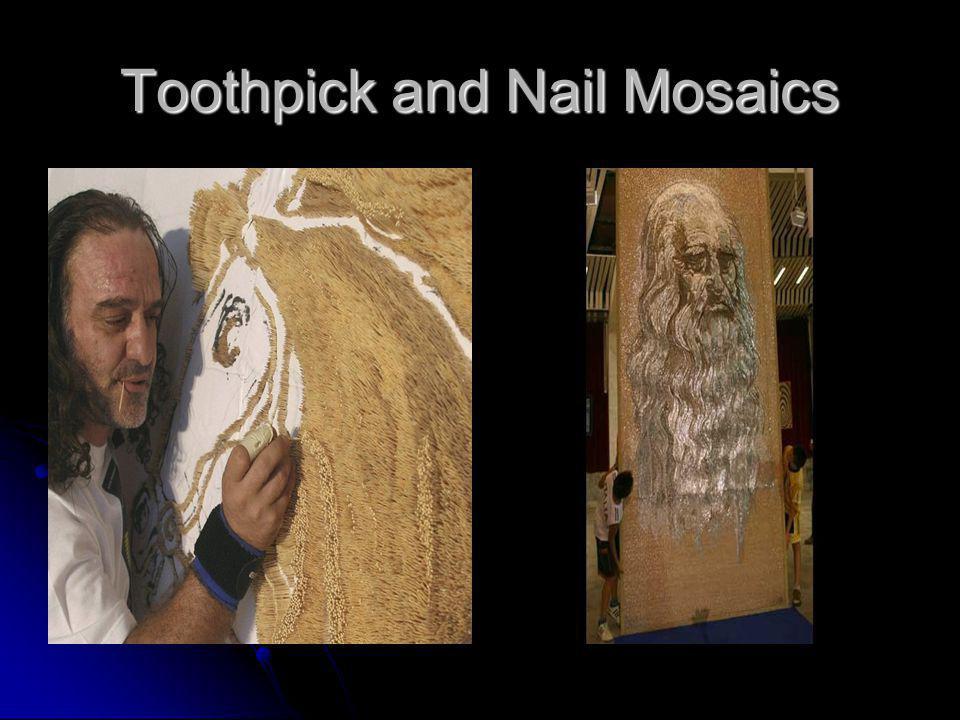 Toothpick and Nail Mosaics