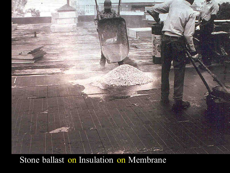 Stone ballast on Insulation on Membrane
