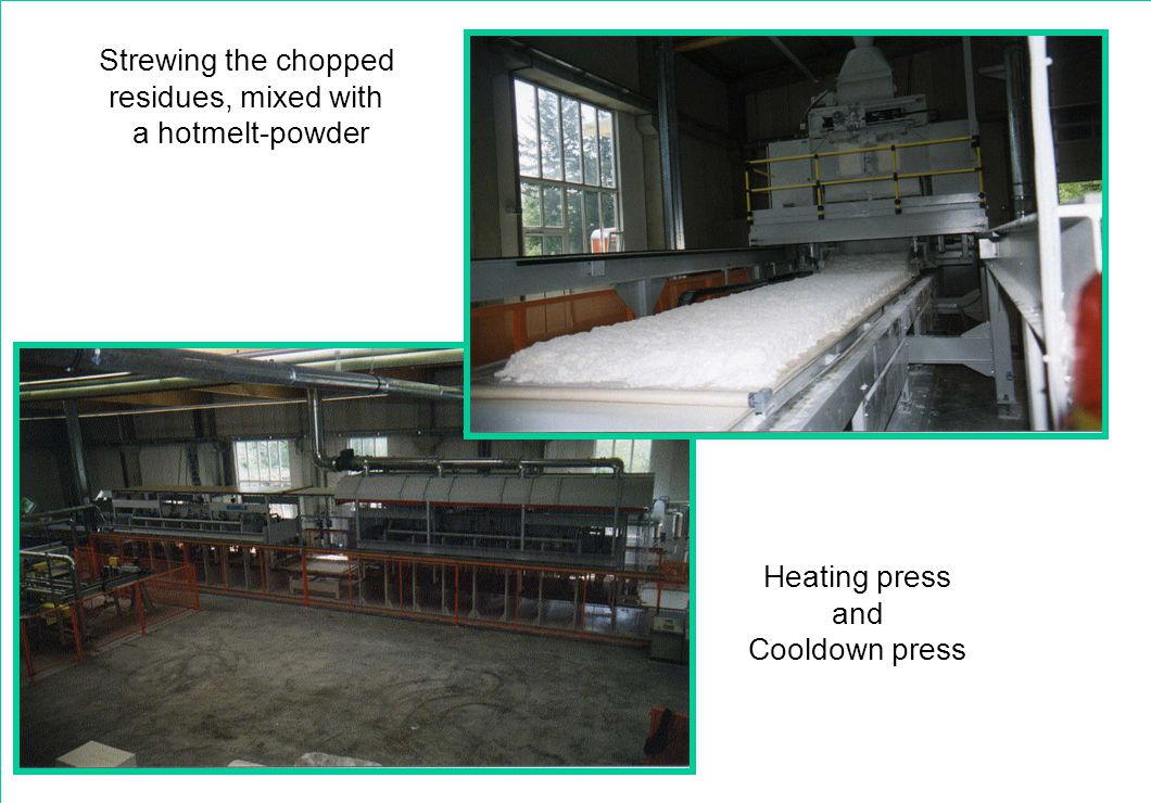 Strewing the chopped residues, mixed with a hotmelt-powder Heating press and Cooldown press