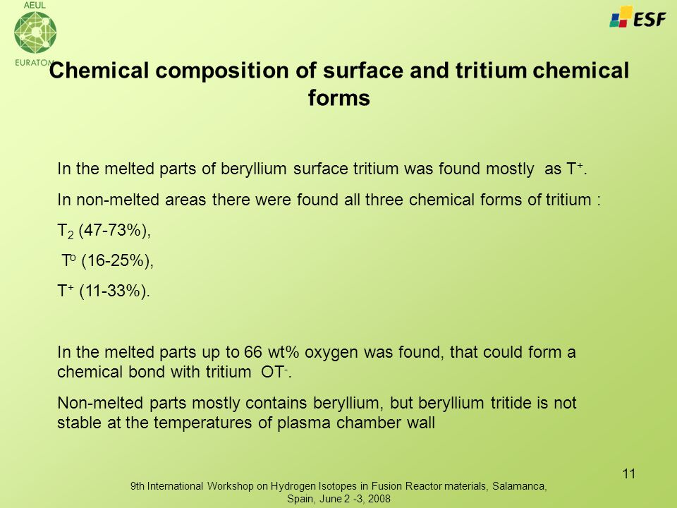 9th International Workshop on Hydrogen Isotopes in Fusion Reactor materials, Salamanca, Spain, June 2 -3, 2008 11 Chemical composition of surface and tritium chemical forms In the melted parts of beryllium surface tritium was found mostly as T +.