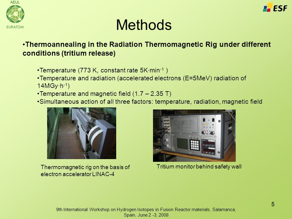 9th International Workshop on Hydrogen Isotopes in Fusion Reactor materials, Salamanca, Spain, June 2 -3, 2008 5 Thermoannealing in the Radiation Thermomagnetic Rig under different conditions (tritium release) Temperature (773 K, constant rate 5K·min -1 ) Temperature and radiation (accelerated electrons (E=5MeV) radiation of 14MGy·h -1 ) Temperature and magnetic field (1.7 – 2.35 T) Simultaneous action of all three factors: temperature, radiation, magnetic field Methods Thermomagnetic rig on the basis of electron accelerator LINAC-4 Tritium monitor behind safety wall