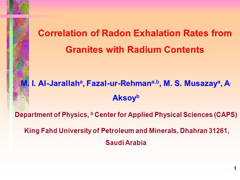 1 Correlation of Radon Exhalation Rates from Granites with Radium Contents M.