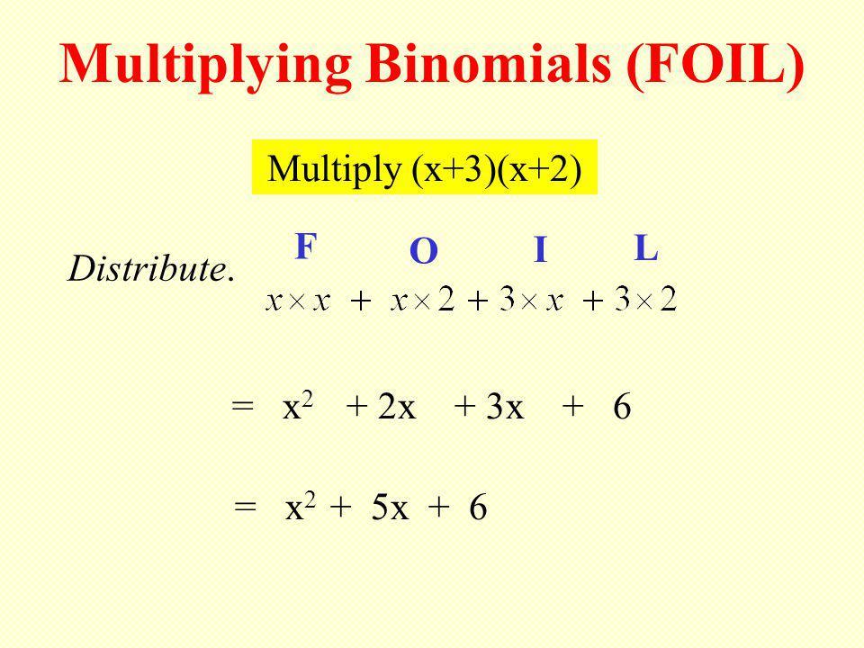 Multiply (x+3)(x+2) Multiplying Binomials (FOIL) F O I L = x 2 + 2x + 3x + 6 = x 2 + 5x + 6 Distribute.
