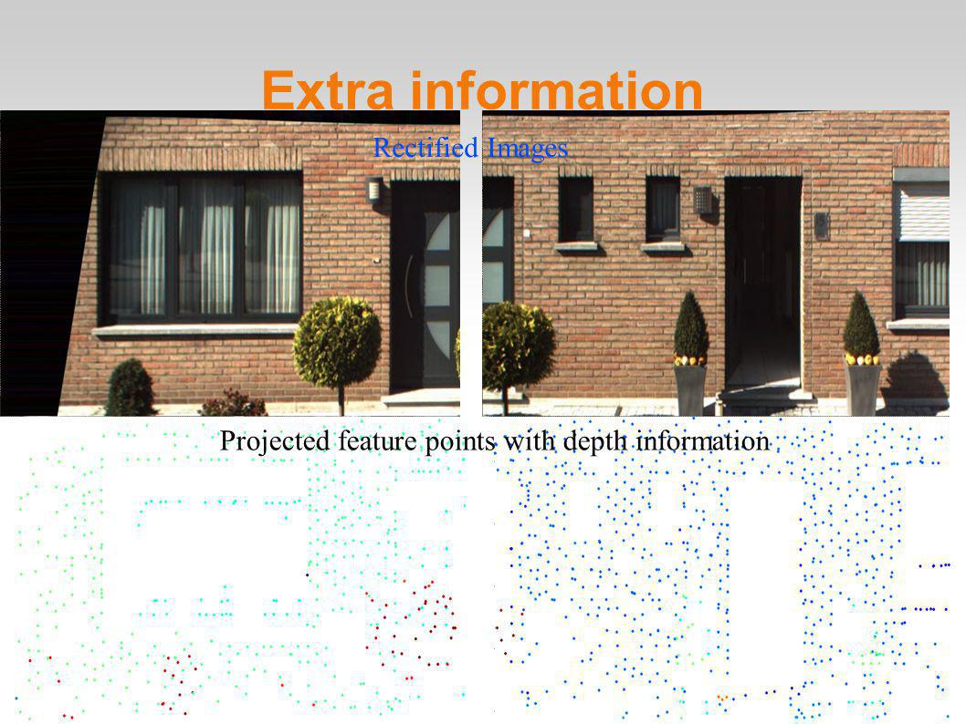 28 Extra information Rectified Images Projected feature points with depth information