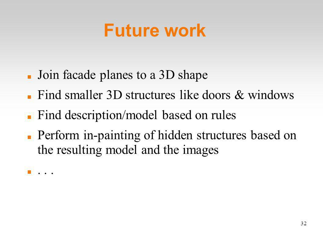 32 Future work Join facade planes to a 3D shape Find smaller 3D structures like doors & windows Find description/model based on rules Perform in-painting of hidden structures based on the resulting model and the images...
