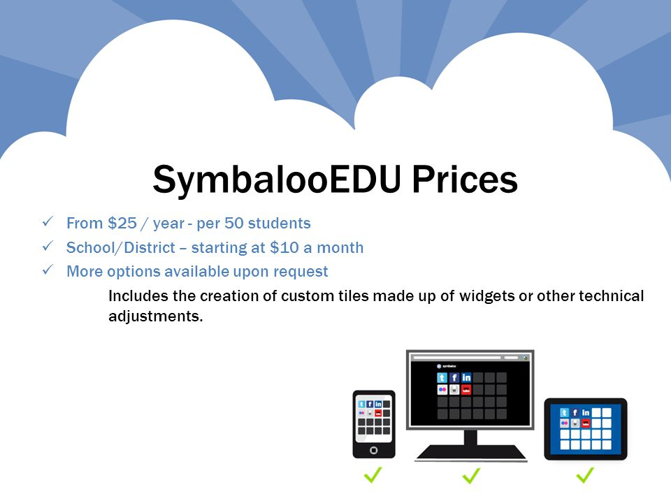 SymbalooEDU Prices From $25 / year - per 50 students School/District – starting at $10 a month More options available upon request Includes the creation of custom tiles made up of widgets or other technical adjustments.