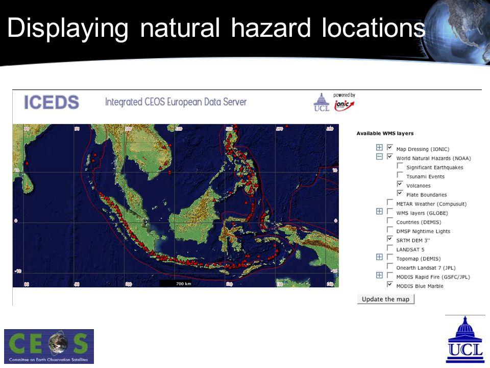 Displaying natural hazard locations