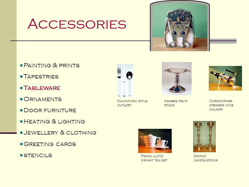 Accessories Painting & prints Tapestries Tableware Ornaments Door furniture Heating & lighting Jewellery & clothing Greeting cards stencils Frank lloy