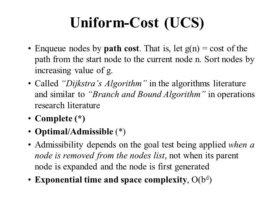 Uniform-Cost (UCS) Enqueue nodes by path cost.