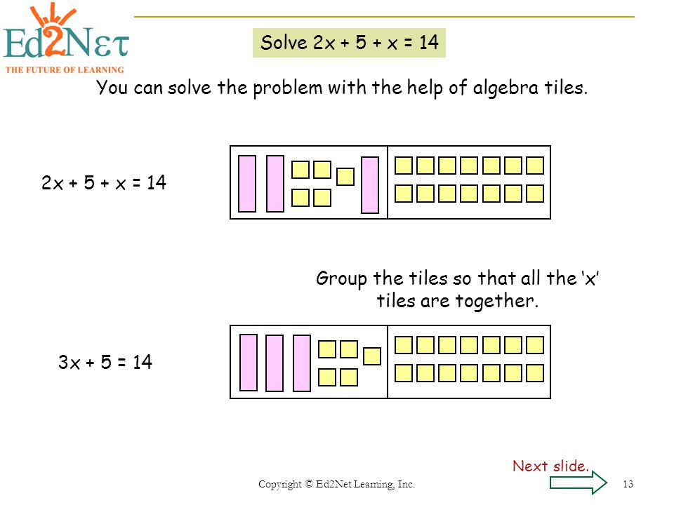 Copyright © Ed2Net Learning, Inc. 13 Solve 2x + 5 + x = 14 You can solve the problem with the help of algebra tiles. Group the tiles so that all the x