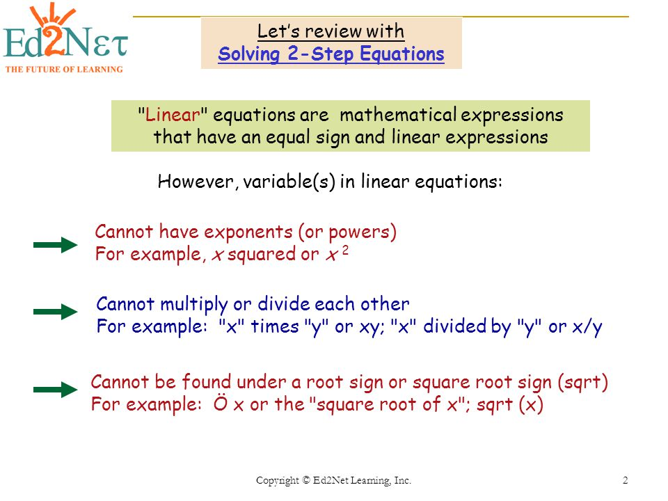 Copyright © Ed2Net Learning, Inc. 2 Lets review with Solving 2-Step Equations