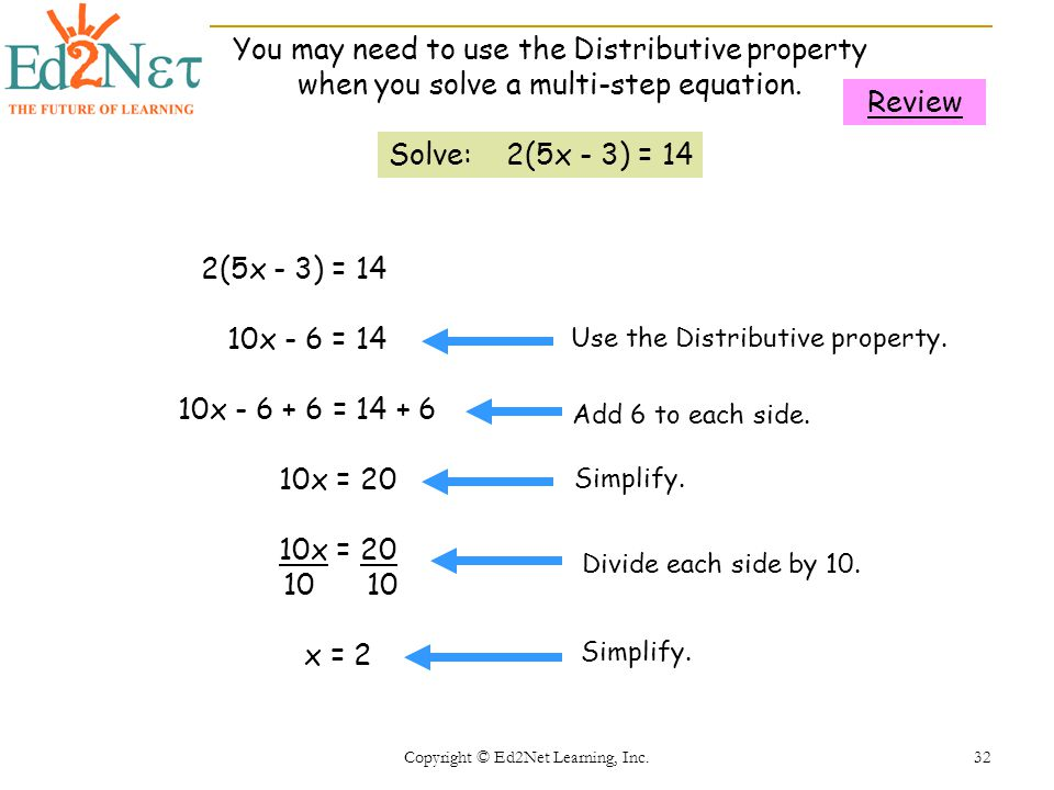 Copyright © Ed2Net Learning, Inc. 32 Solve: 2(5x - 3) = 14 2(5x - 3) = 14 10x - 6 = 14 10x - 6 + 6 = 14 + 6 10x = 20 10 10 x = 2 Use the Distributive