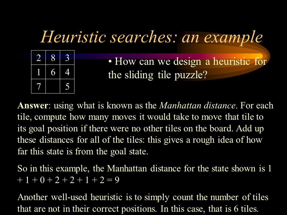Ideas for solving the sliding-tile puzzle Firstly, lets evaluate if heuristics would be a good choice to use here: –since researchers cant find a good solution to this problem, we can guess that neither can the contest organisers.
