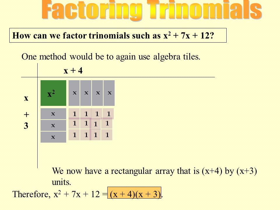 How can we factor trinomials such as x 2 + 7x + 12.