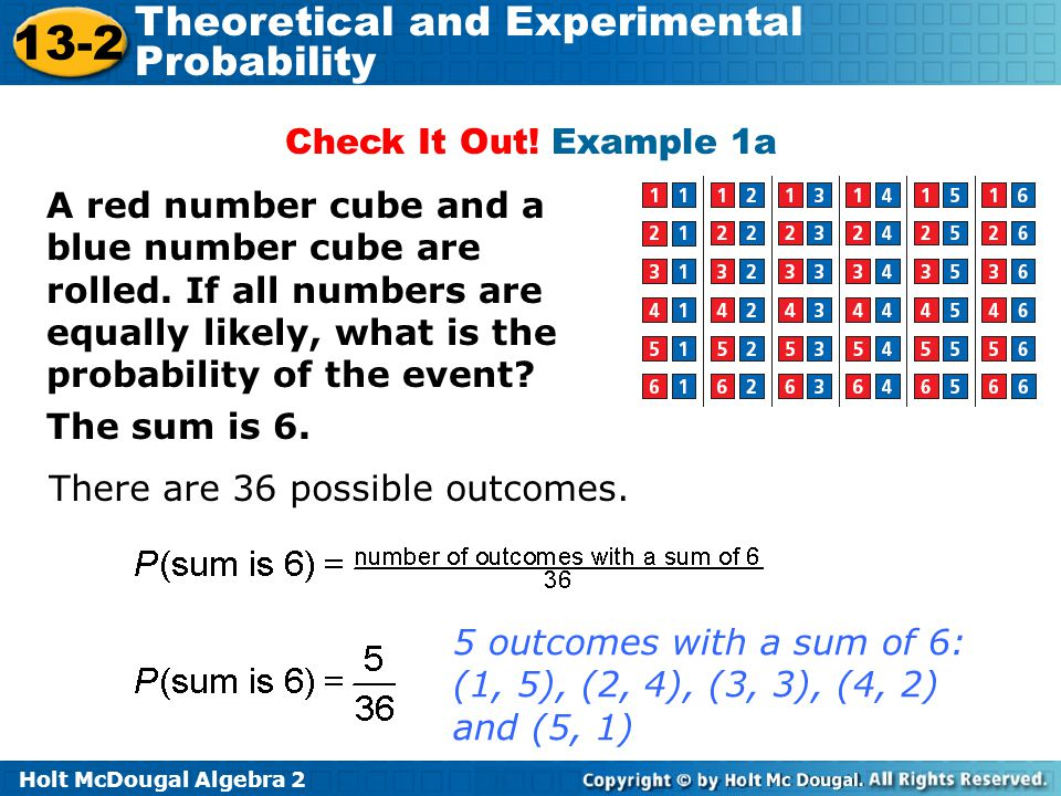 Holt McDougal Algebra 2 13-2 Theoretical and Experimental Probability Check It Out! Example 1a A red number cube and a blue number cube are rolled. If