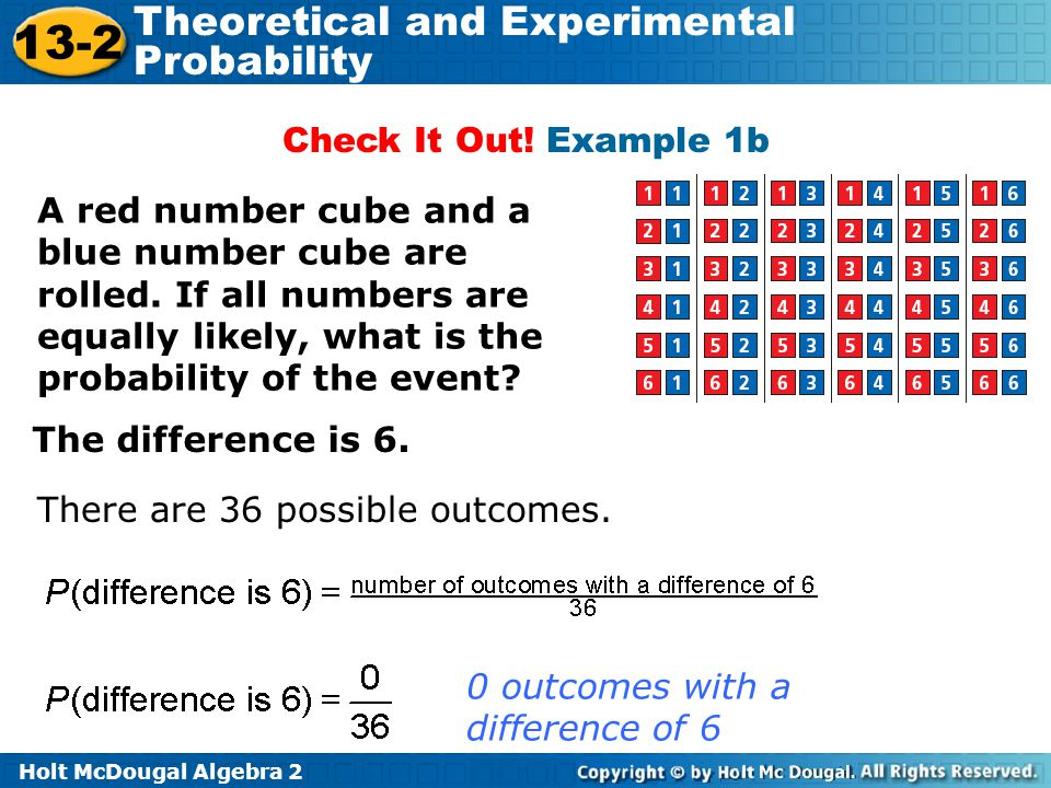 Holt McDougal Algebra 2 13-2 Theoretical and Experimental Probability Check It Out! Example 1b A red number cube and a blue number cube are rolled. If