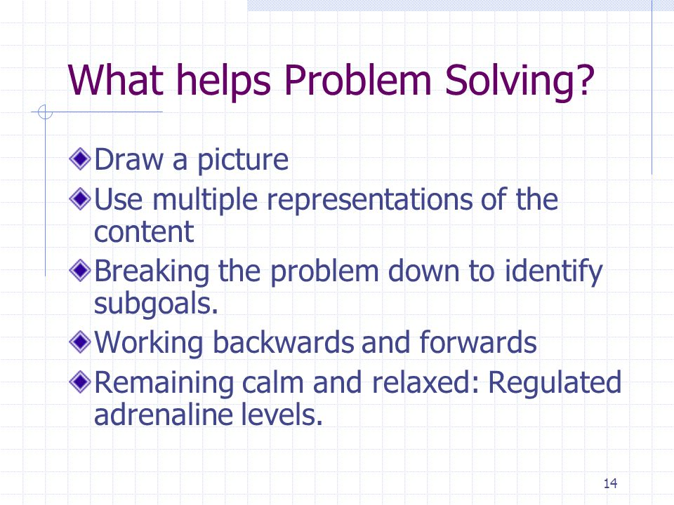 14 What helps Problem Solving.