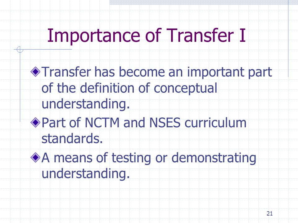 21 Importance of Transfer I Transfer has become an important part of the definition of conceptual understanding.