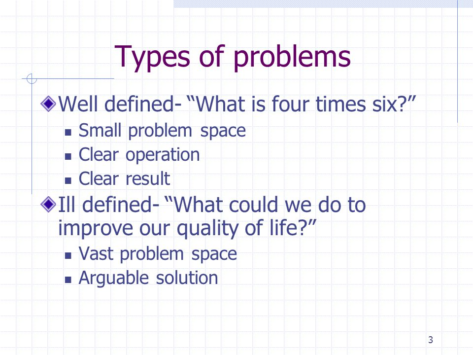 3 Types of problems Well defined- What is four times six.