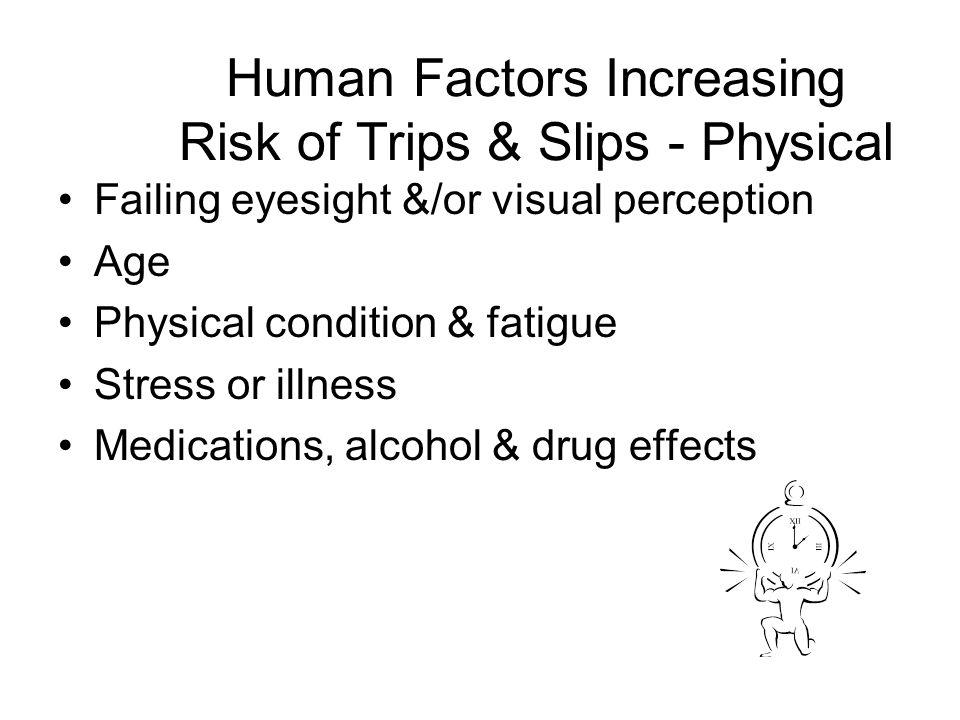 Failing eyesight &/or visual perception Age Physical condition & fatigue Stress or illness Medications, alcohol & drug effects Human Factors Increasin