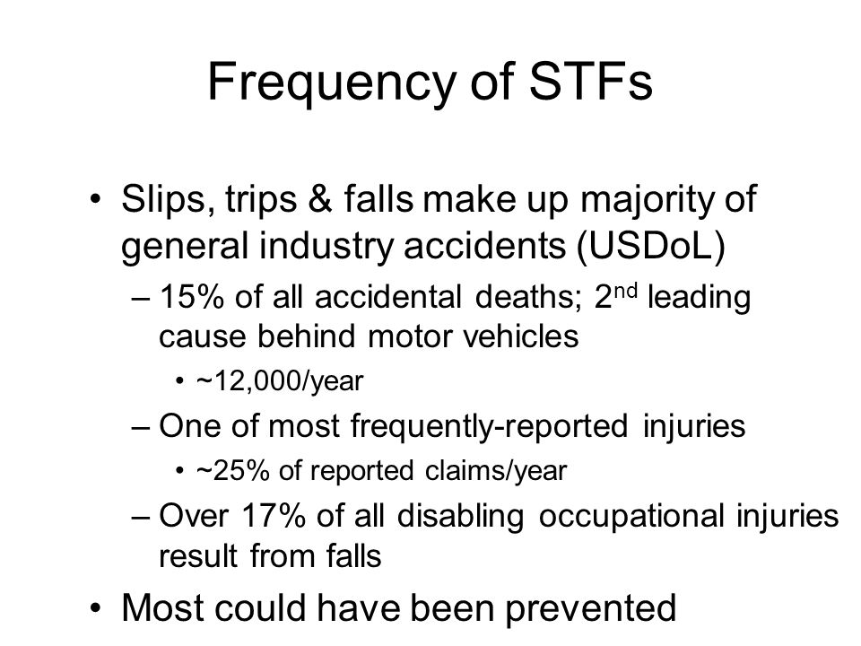 STF Injuries Sprains & strains Bruises & contusions Fractures Abrasions & lacerations
