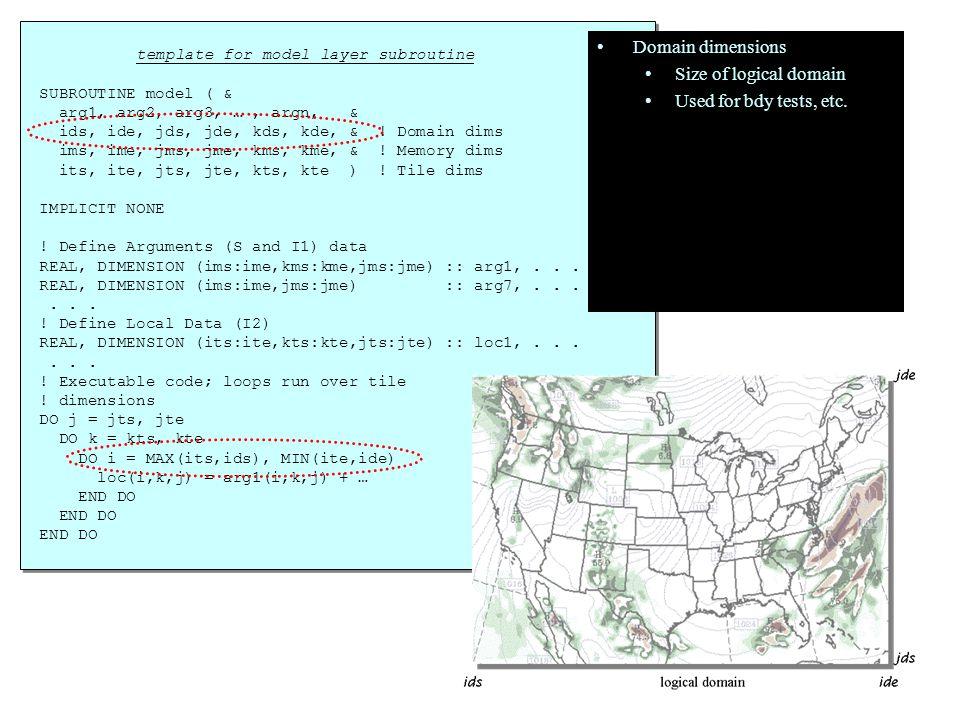 template for model layer subroutine SUBROUTINE model ( & arg1, arg2, arg3, …, argn, & ids, ide, jds, jde, kds, kde, & ! Domain dims ims, ime, jms, jme