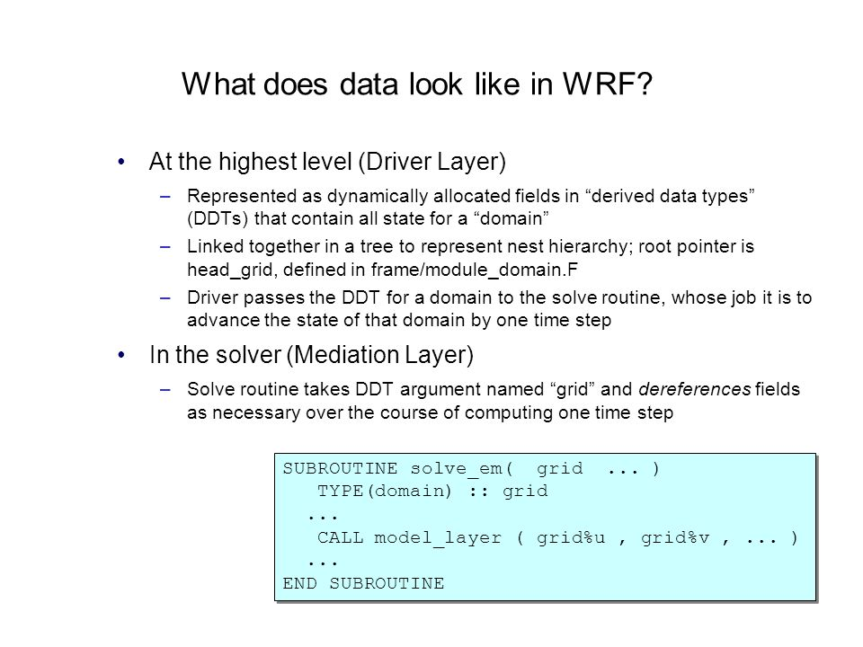 What does data look like in WRF? At the highest level (Driver Layer) –Represented as dynamically allocated fields in derived data types (DDTs) that co