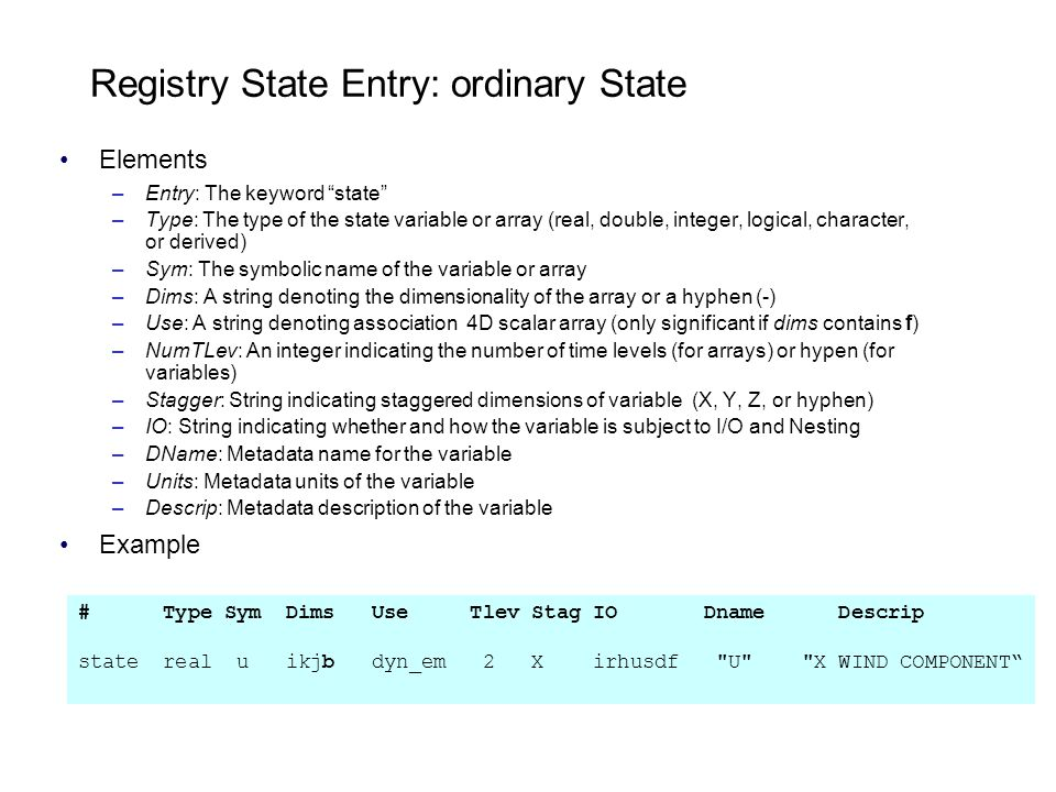 Registry State Entry: ordinary State Elements –Entry: The keyword state –Type: The type of the state variable or array (real, double, integer, logical