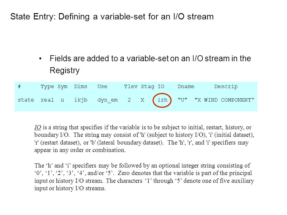 State Entry: Defining a variable-set for an I/O stream Fields are added to a variable-set on an I/O stream in the Registry IO is a string that specifi