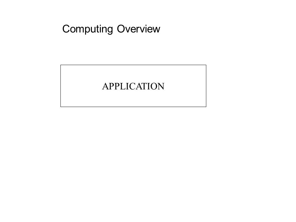 Computing Overview APPLICATION