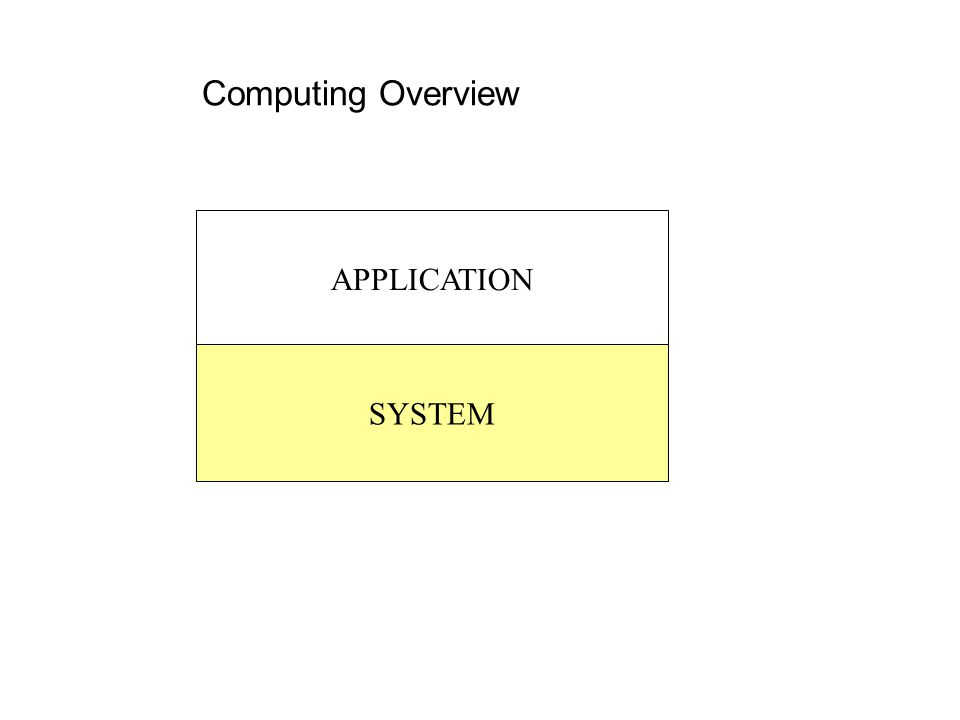 Computing Overview APPLICATION SYSTEM