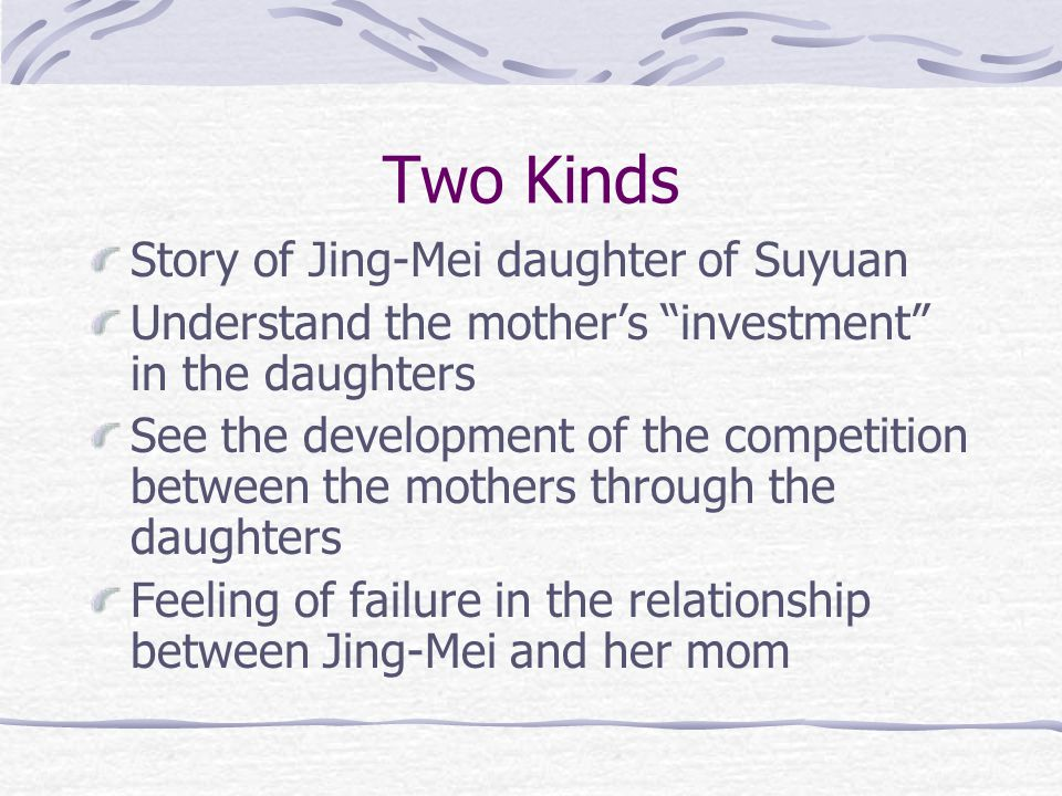 Half and Half Story of Rose daughter of An-Mei Discusses divorce and beliefs concerning divorce Death of her brother and her feeling of responsibility Development of her complex Role of religion/balance