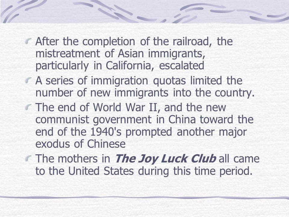 Chinese Immigration to the US First major wave of around the 1840's Prompted by the gold rush and westward expansion Chinese men came to the country t