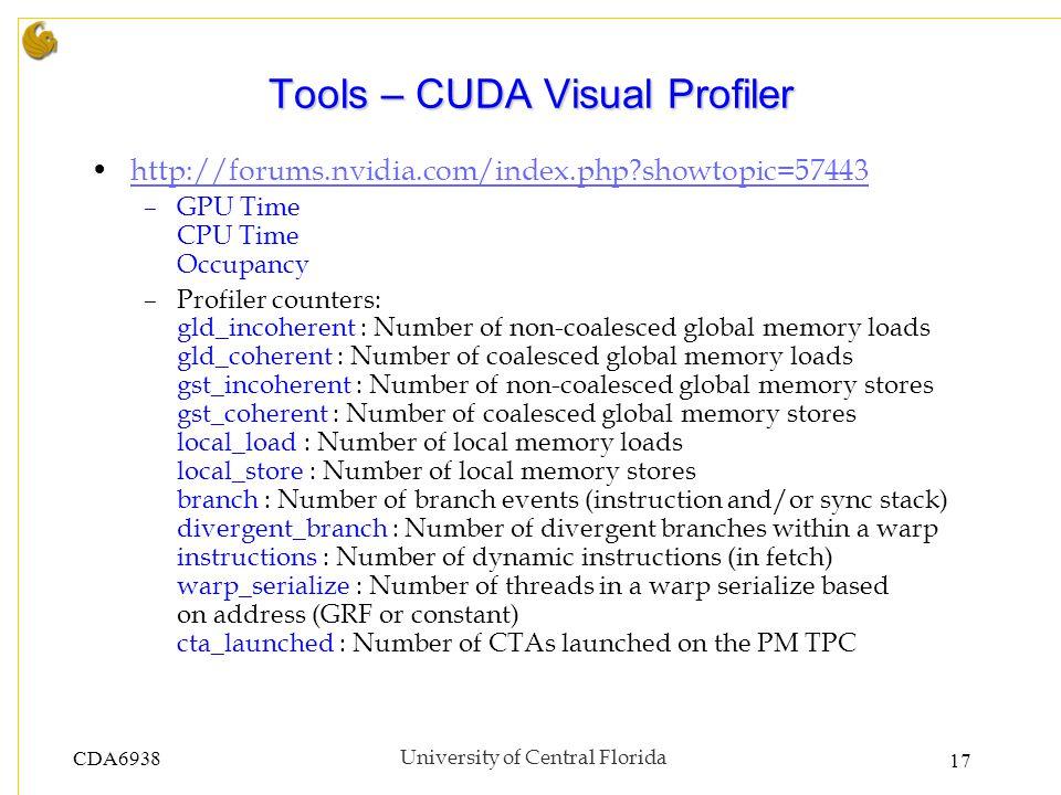 CDA6938University of Central Florida 17 Tools – CUDA Visual Profiler http://forums.nvidia.com/index.php?showtopic=57443 –GPU Time CPU Time Occupancy –