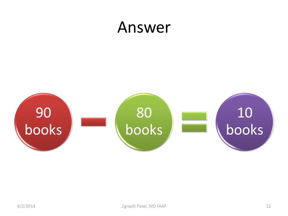 Answer 90 books 80 books 10 books 6/2/201412Jignesh Patel, MD FAAP