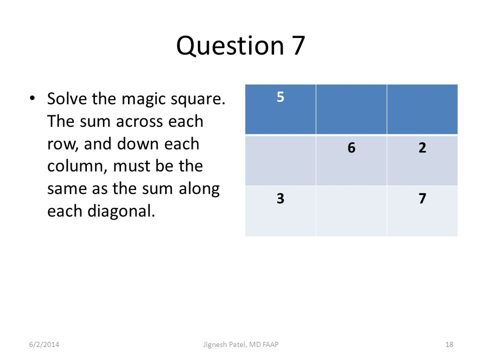 Question 7 Solve the magic square. The sum across each row, and down each column, must be the same as the sum along each diagonal. 5 62 37 6/2/201418J