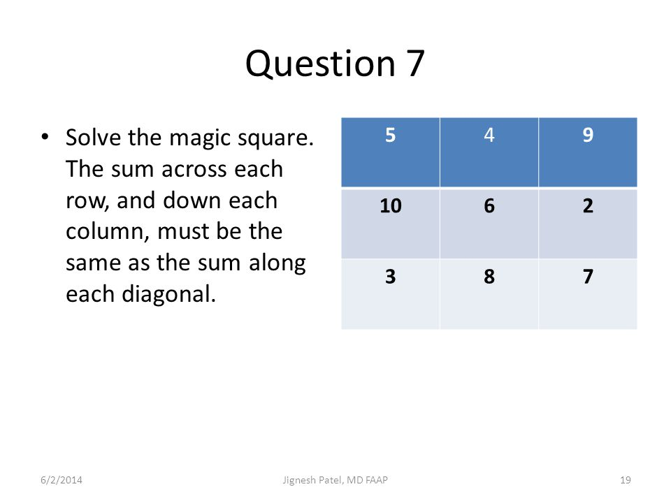 Question 7 Solve the magic square. The sum across each row, and down each column, must be the same as the sum along each diagonal. 549 1062 387 6/2/20