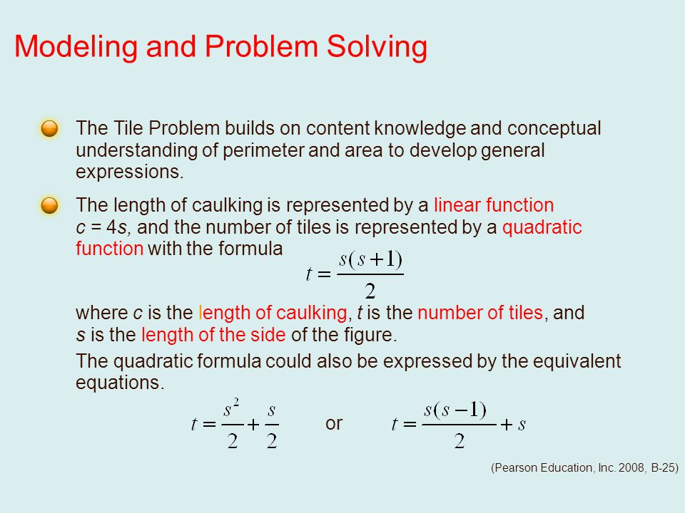 or The Tile Problem builds on content knowledge and conceptual understanding of perimeter and area to develop general expressions.