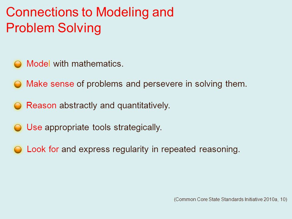 Reason abstractly and quantitatively. Make sense of problems and persevere in solving them.