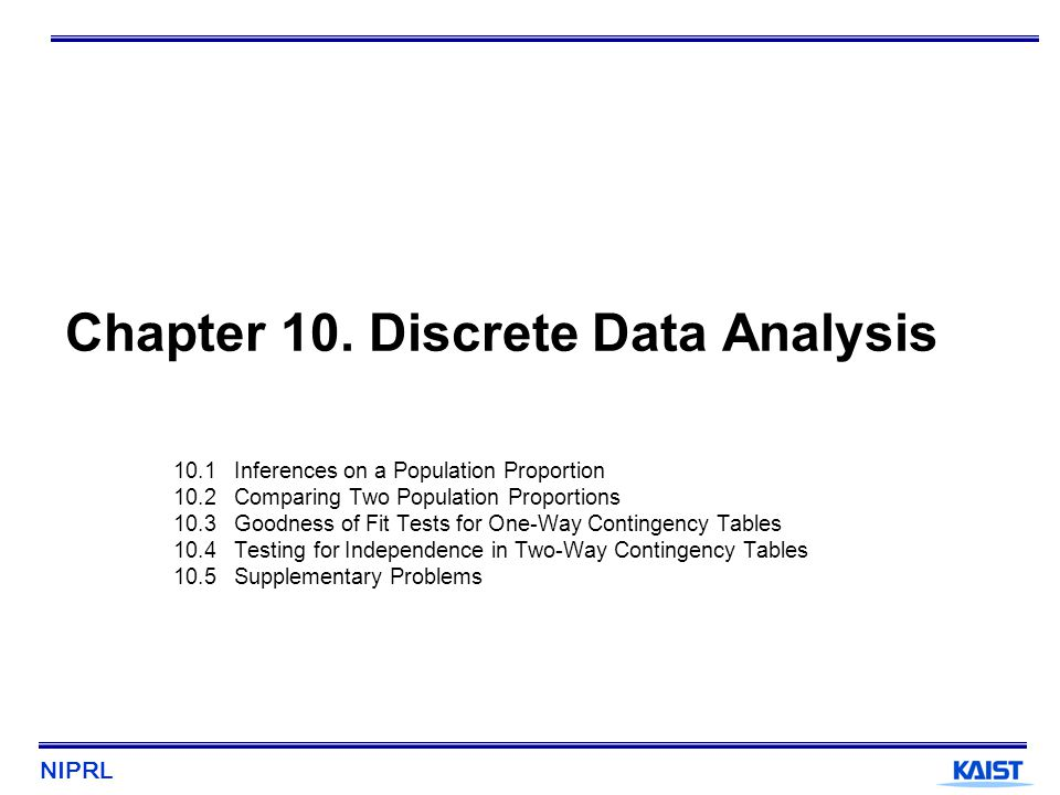 NIPRL 22 10.3.1 One-Way Classifications Example 1 : Machine Breakdowns H 0 : p 1 = 0.2, p 2 = 0.5, p 3 = 0.3 ElectricalMechanical Operator misuse Observed cell freq.