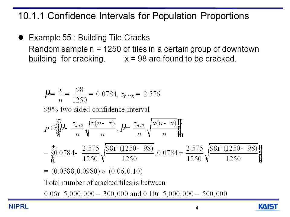 NIPRL 5 10.1.1 Confidence Intervals for Population Proportions
