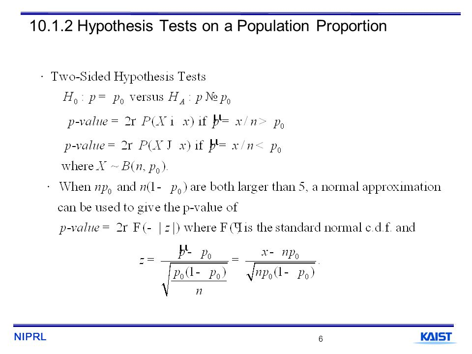 NIPRL 7 10.1.2 Hypothesis Tests on a Population Proportion