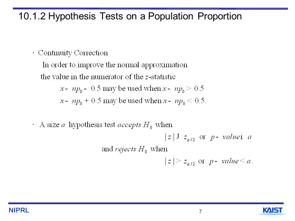 NIPRL 8 10.1.2 Hypothesis Tests on a Population Proportion