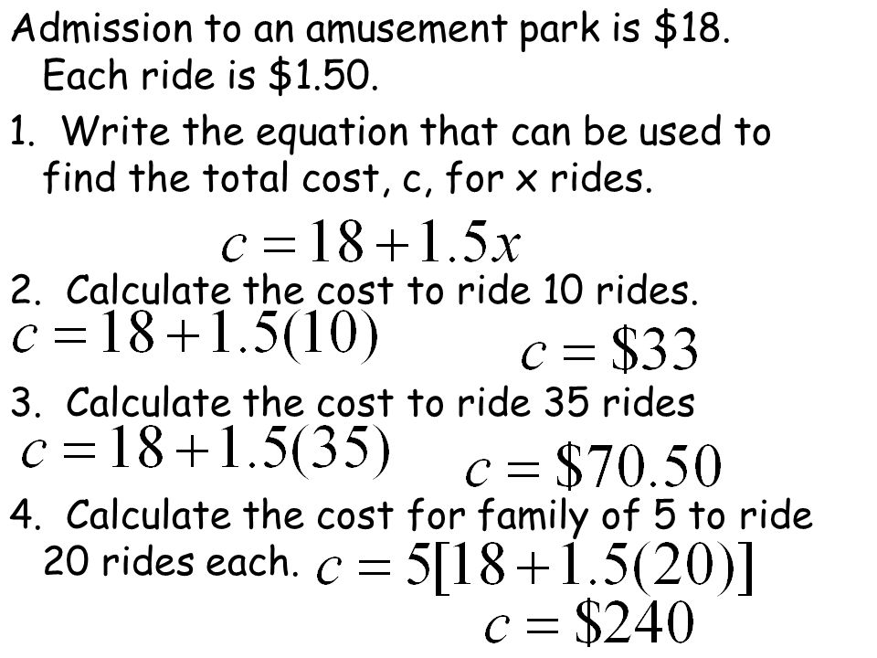 Admission to an amusement park is $18.Each ride is $1.50.