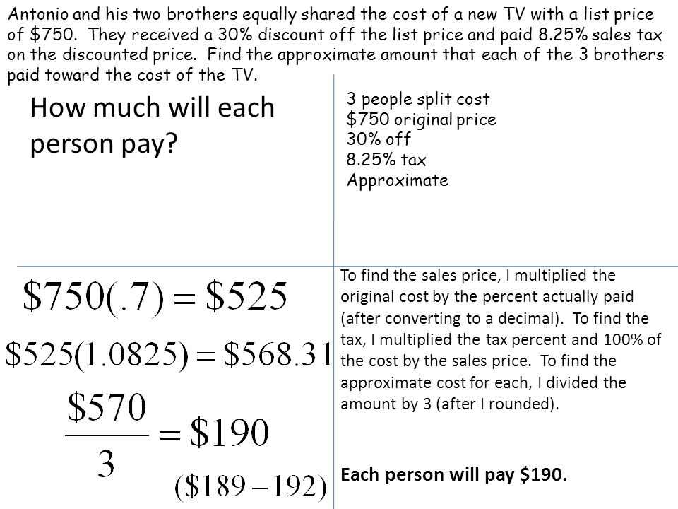 How much will each person pay.